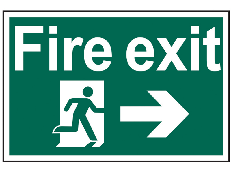 Thumbnail image of Scan Fire Exit Running Man Arrow Right - PVC 300 x 200mm