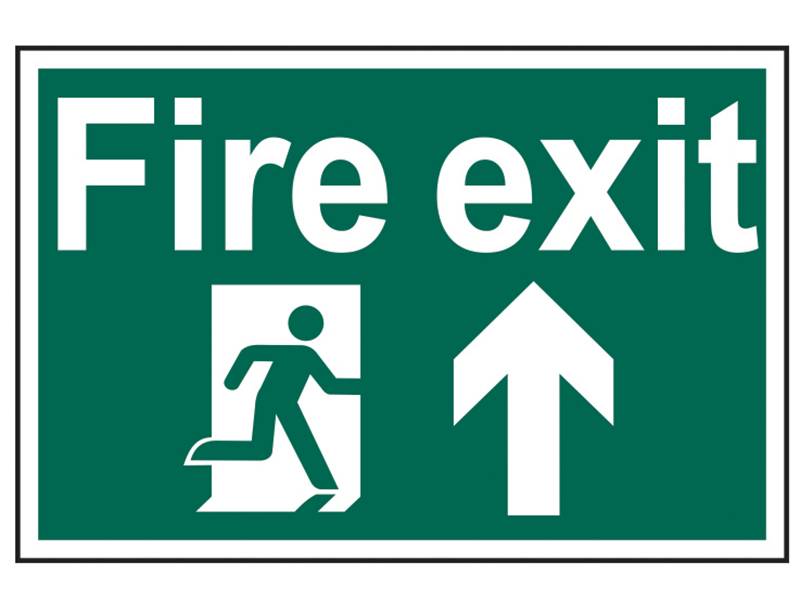 Thumbnail image of Scan Fire Exit Running Man Arrow Up - PVC 300 x 200mm