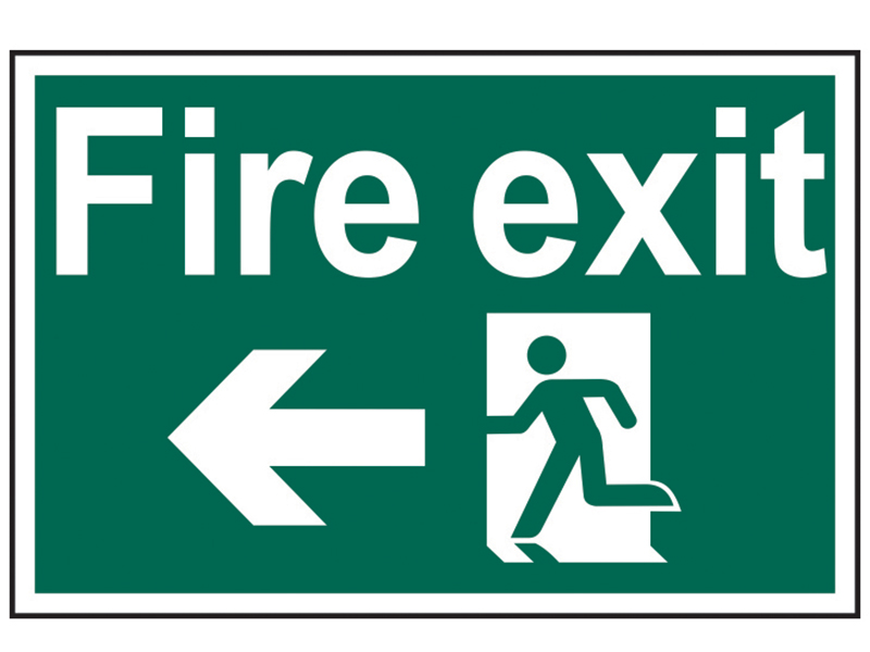 Thumbnail image of Scan Fire Exit Running Man Arrow Left - PVC 300 x 200mm