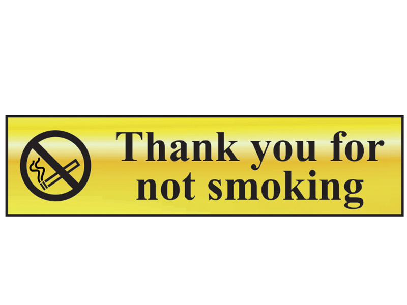 Thumbnail image of Scan Thank You For Not Smoking - Polished Brass Effect 200 x 50mm