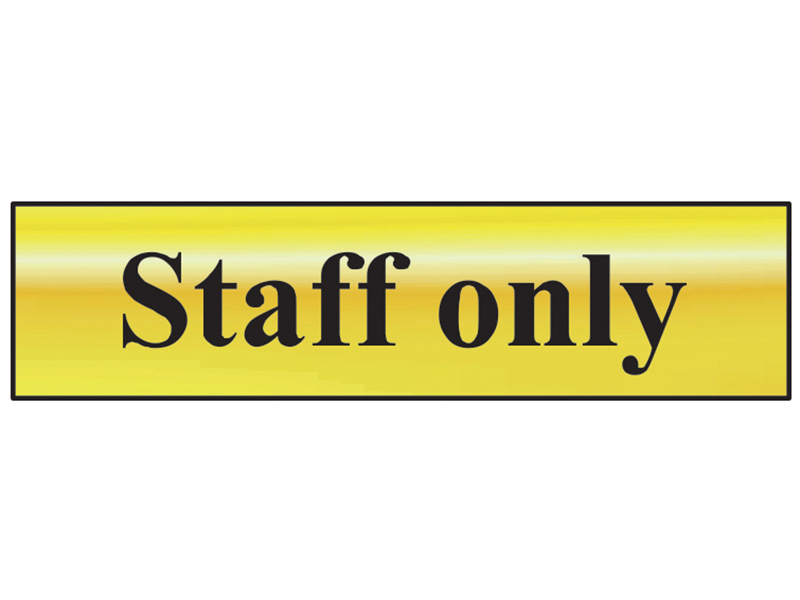Thumbnail image of Scan Staff Only - Polished Brass Effect 200 x 50mm
