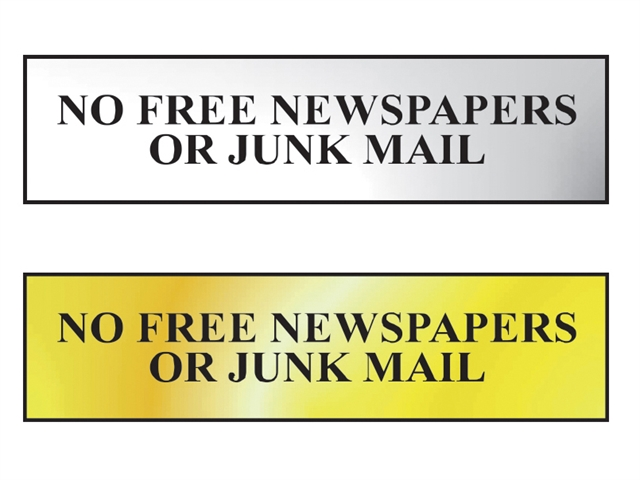 Thumbnail image of Scan No Free Newspapers Or Junk Mail - Polished Brass Effect 200 x 50mm