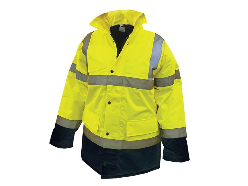 Thumbnail image of Scan Hi-Vis Yellow/Black Motorway Jacket - L (44in)