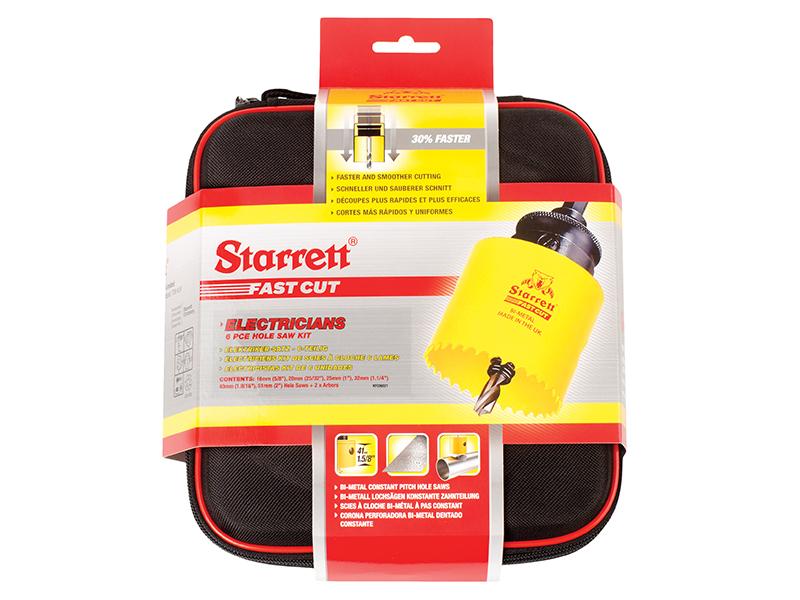 Thumbnail image of Starrett KFC06021 Fast Cut Bi-Metal Electrician's Holesaw Kit, 8 Piece