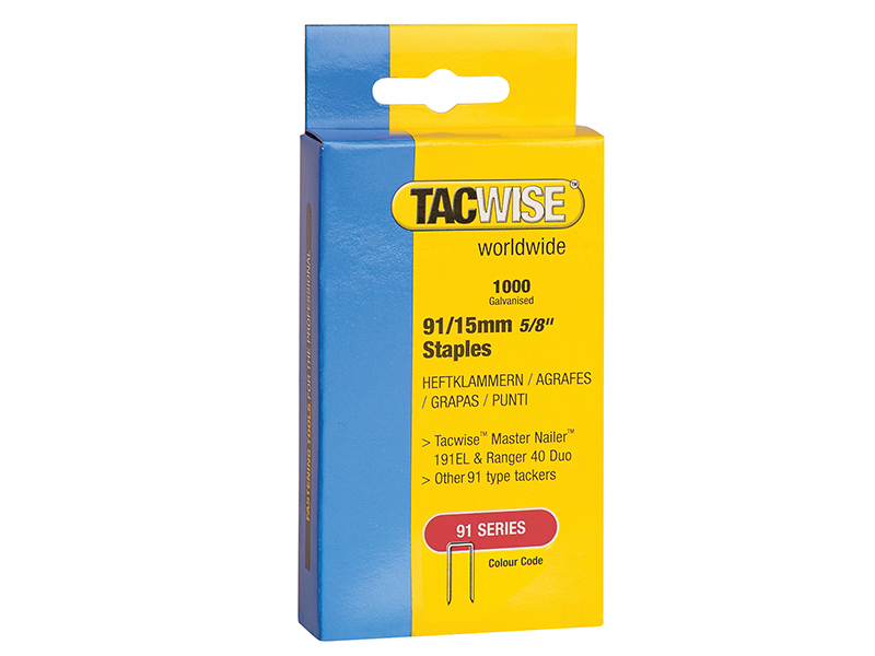 Thumbnail image of Tacwise 91 Narrow Crown Staples 40mm - Electric Tackers Pack 1000