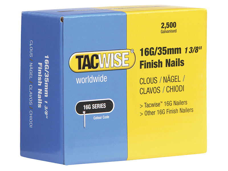 Thumbnail image of Tacwise 16 Gauge Straight Finish Nails 20mm Pack 2500