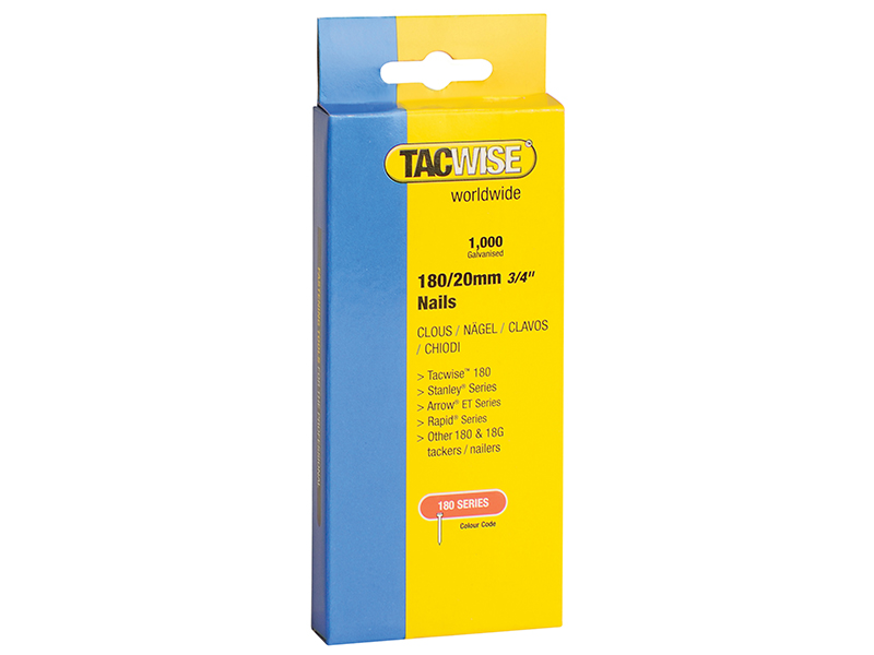 Thumbnail image of Tacwise 180 18 Gauge 25mm Nails Pack 1000
