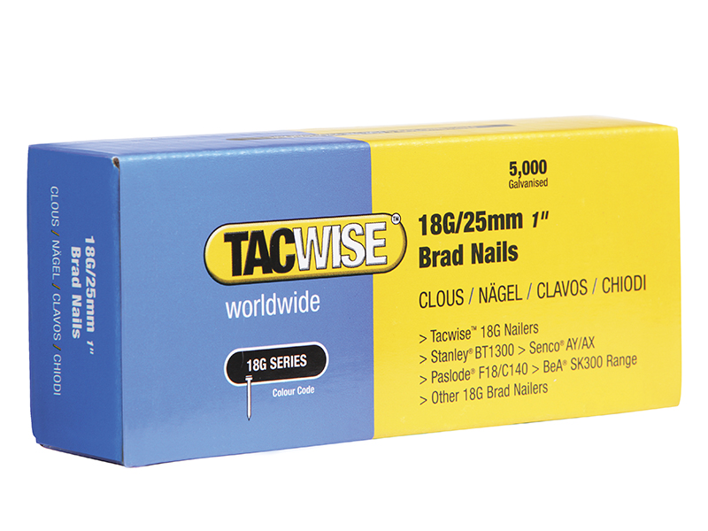 Thumbnail image of Tacwise 18 Gauge 25mm Brad Nails Pack of 5000