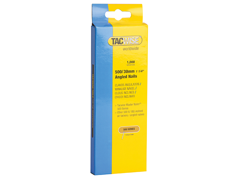 Thumbnail image of Tacwise 500 18 Gauge 30mm Angled Nails Pack 1000