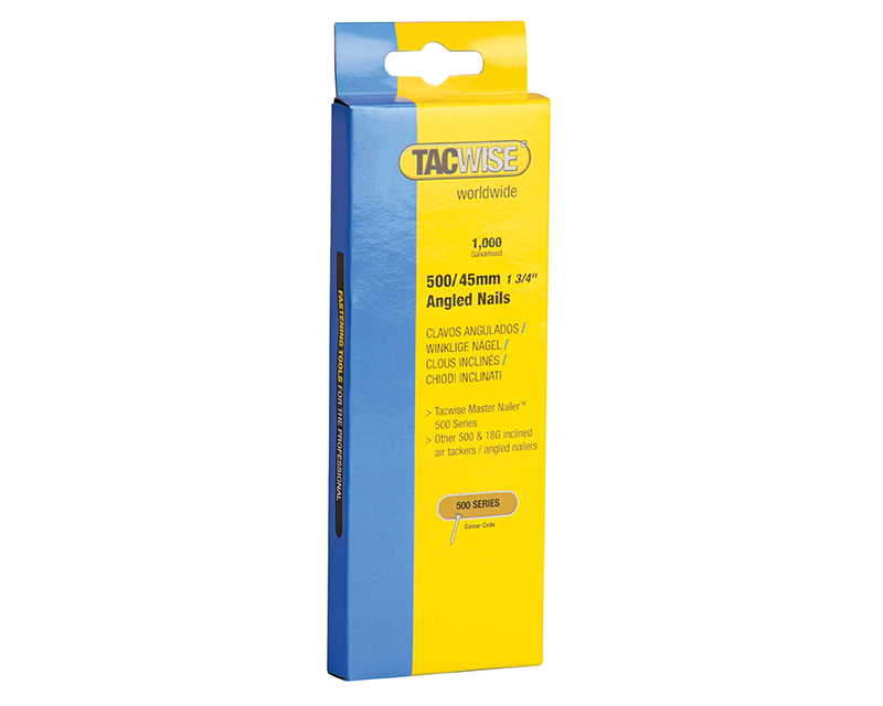 Thumbnail image of Tacwise 500 18 Gauge 45mm Angled Nails Pack 1000