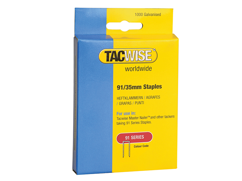 Thumbnail image of Tacwise 91 Narrow Crown Staples 35mm - Electric Tackers Pack 1000