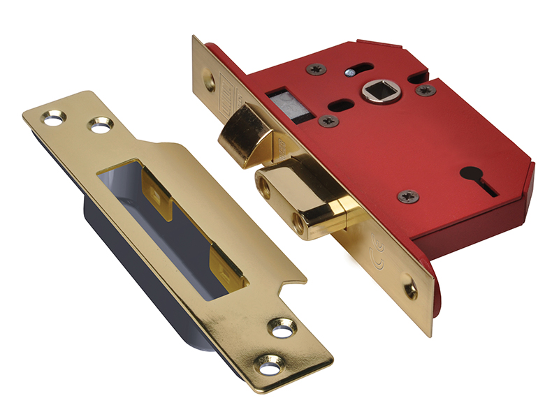 Thumbnail image of Union StrongBOLT 2203S 3 Lever Mortice Sashlock Polished Brass 68mm 2.5in Visi