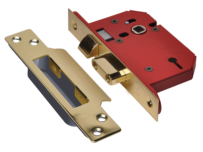 Thumbnail image of Union StrongBOLT 2203S 3 Lever Mortice Sashlock Polished Brass 81mm 3in Visi