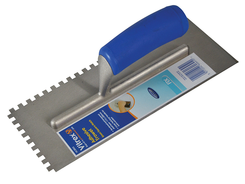 Thumbnail image of Vitrex Notched Adhesive Trowel Square 6mm Soft Grip Handle 11 x 4.1/2in