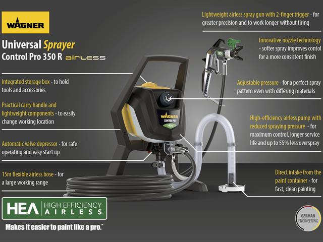 Thumbnail image of Wagner Control Pro 350R Airless Sprayer 600W 240V