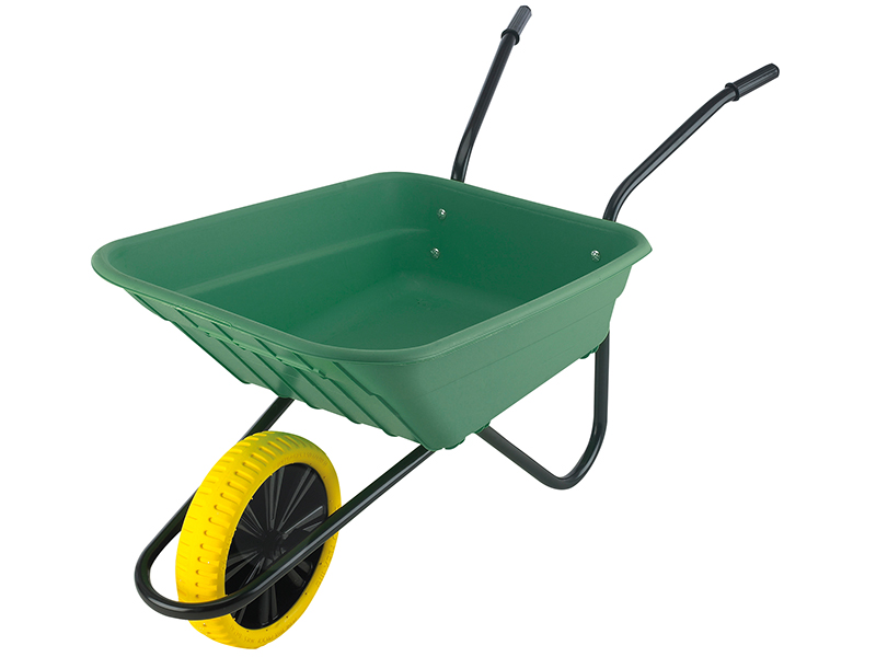 Thumbnail image of Walsall Boxed 90L Green Polypropylene Wheelbarrow - Puncture Proof