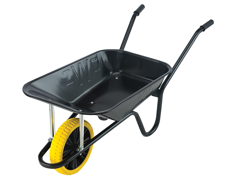 Thumbnail image of Walsall 85L Contractor Black Heavy-Duty Builders Wheelbarrow - Puncture Proof