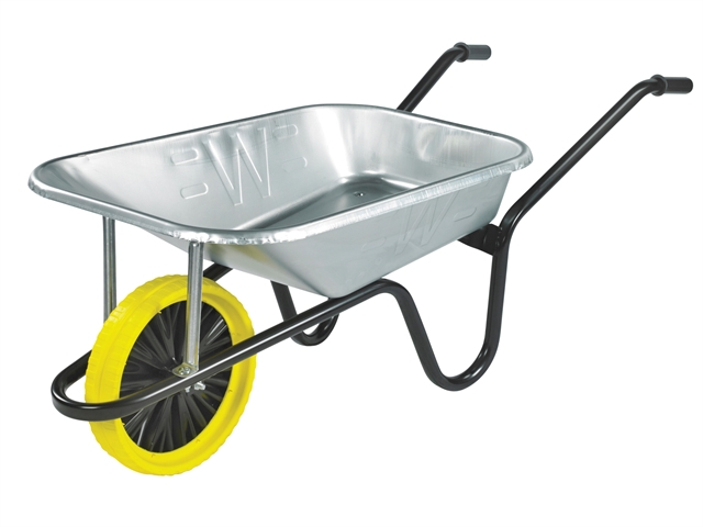 Thumbnail image of Walsall 85L Galvanised Heavy-Duty Builders Wheelbarrow - Puncture Proof