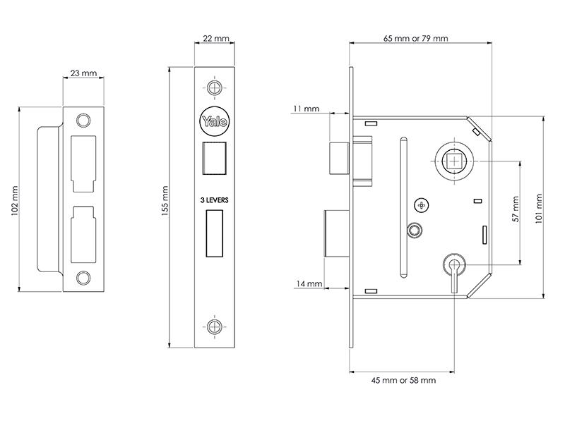 Thumbnail image of Yale PM320 3 Lever Mortice Sashlock Polished Chrome 65mm 2.5in