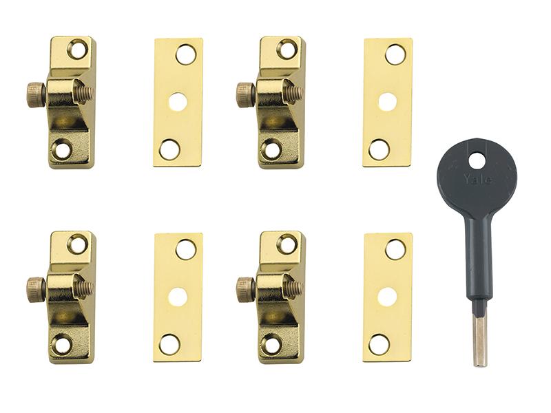 Thumbnail image of Yale 8K118 Economy Window Lock Electro Brass Finish Pack of 4 Visi
